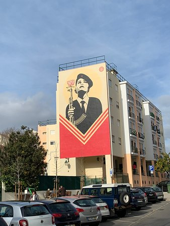 Carnation Revolution mural as shown to us on King of the Hills tour of the city