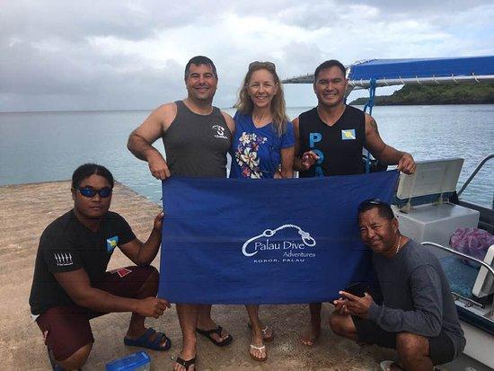 Palau Dive Adventures: Javon, Chris, & Arson at the PPR dock.