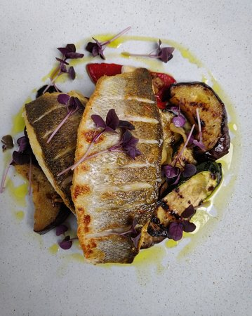 Fresh Pan fried sea bass.