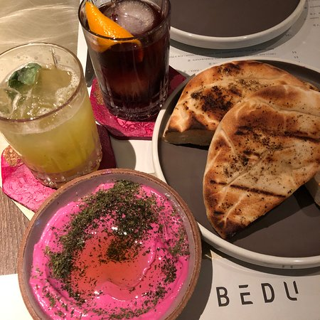 BEDU - pink beetroot puree with mint labneh and pita