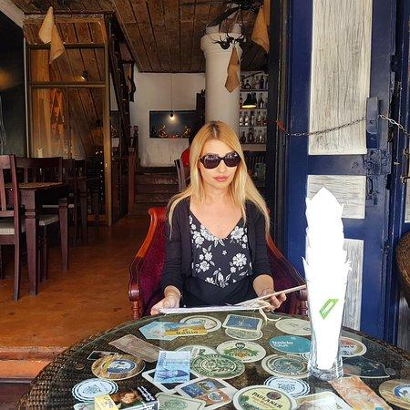 Sena Steak House: Terrasse with me ordering haha