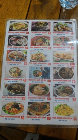 Hanoi Old Quarter: Menu of Pho Tung Ga Restaurant