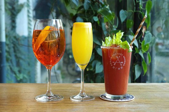 Aperol Spritz, Mimosa, and Bloody Mary at Arrow Factory Brewing Liangmahe