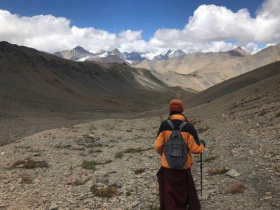 a monk heading to destination, Dolpo
