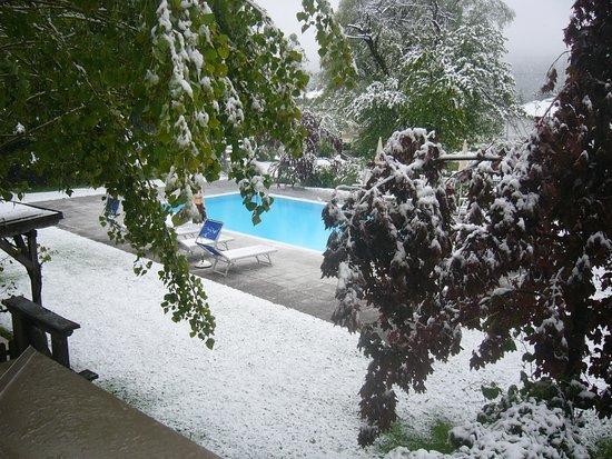 Gundersheim, Ausztria: maggio 2013, convinto dalla figlioletta a fare il bagno nella piscina......si è ristretto tutto