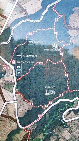 Riserva Naturale Regionale Selva del Lamone: Hier eine der Schautafeln, die Sie im Ort sehen.