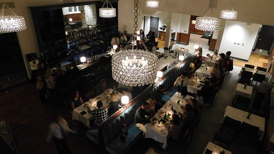View from the mezzanine over our main dining room and bar