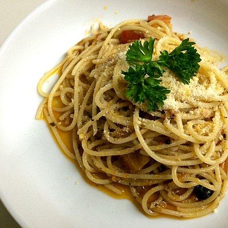 PESTO SPAGHETTI - With sun-dried tomato pesto, black olives, white wine, garlic and olive oil. ***Vegetarian & Vegan Friendly