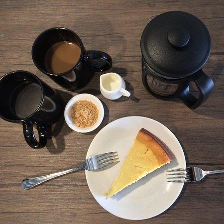 NEW YORK CHEESECAKE - Best in Puerto Princesa! French Press Palawan Heritage Coffee.