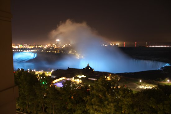 Night view of both falls with coloured light