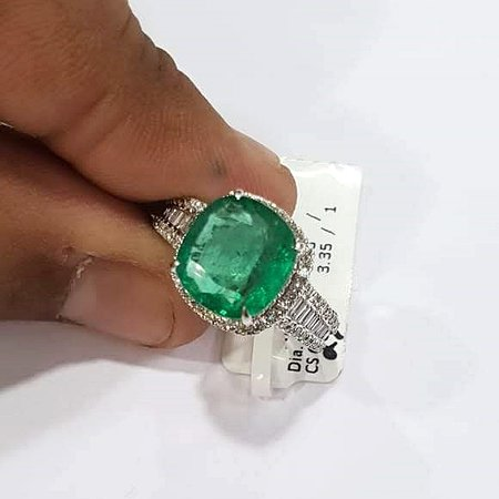 Dev Arts N Jewels: Fancy shape big stone emerald ring with diamonds in 18k white gold...