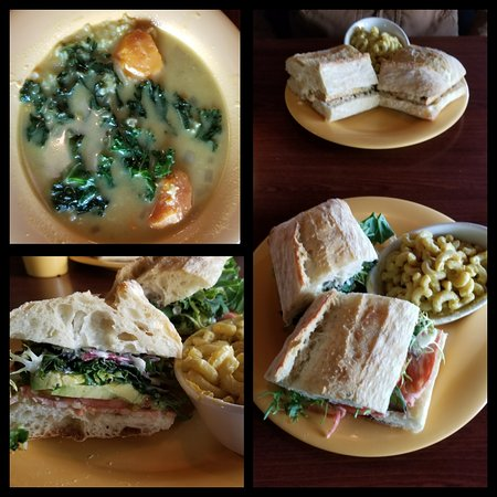 """Horse Shoe, NC: Fresh, homemade soup specials every day and a varied menu.  This sandwich is a vegan """"BLT"""" and is absolutely delicious."""