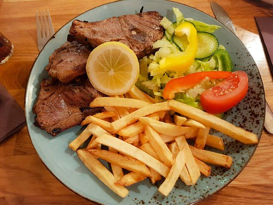 Bistro Lisboa: Costeletas de  Borrego: Lamb Cutlets with Homemade French Fries and Salad