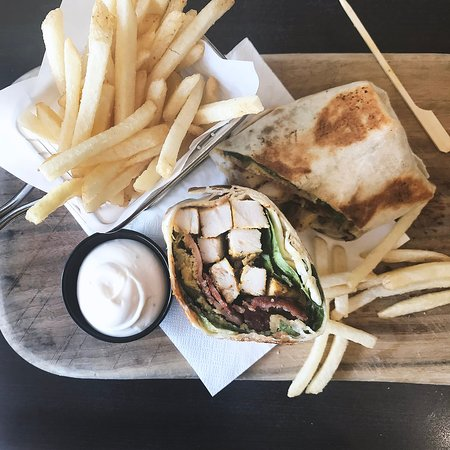 On the menu: Caesar wrap (chicken, bacon, cos & parmesan) with fries & chipotle aioli.