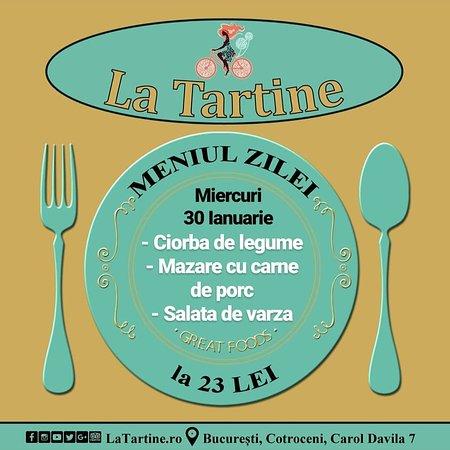 🍴 De la ora 12:00 va așteptăm #LaTartine #Cotroceni cu #MeniulZilei (#Miercuri, 30 #Ianuarie) la 23 lei: - Ciorba de legume - Mazare cu carne de porc - Salata de varza  * în limita stocului disponibil  #LaTartineCotroceni #București