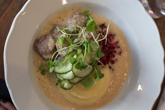 One of our most popular courses: Meatballs, potato puree, cream sauce, lingon berries