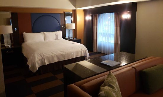 A view into the suite towards the bed.