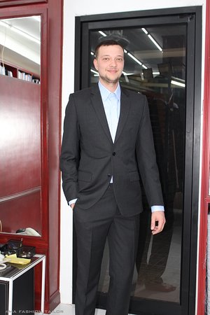Custom tailored suit by a professional tailor.