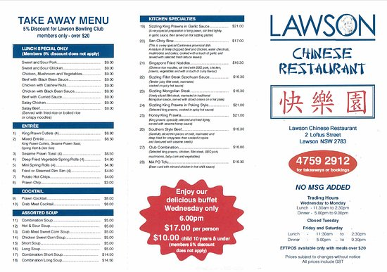 Lawson, Úc: Menu Page 1 of 2