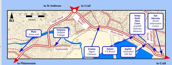 Anstruther, UK: A map of the bronze plaques