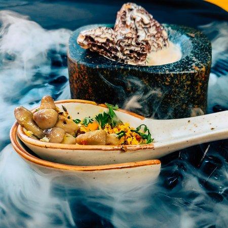 A melange of morels, truffles and precious preserved Goan olmi mushrooms.
