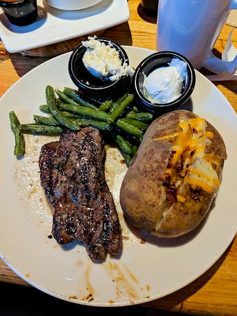 Brandon, MS: 6 oz sirloin with a loaded baked potato and garlic green beans