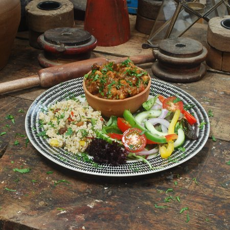 Bampton, UK: This is our spiced lamb raging served with a light bulgar wheat salad and green salad