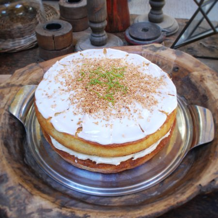 """Bampton, UK: This is our lime and coconut cake, one of our wide variety of homemade cakes. A variety of which are also available to takeaway in both 8"""" and 10"""" sizes as a whole cake"""