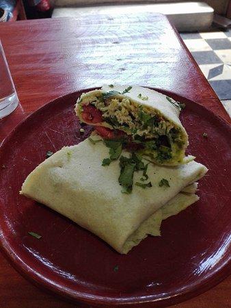 Flores, Guatemala: 1.Burrito de pollo + papas  2.Burrito vegetariano  + papas  Q.20.00