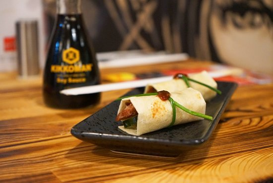 Mi asian street food: Slow cooked 5 spice pork wrap with pickle cucumber