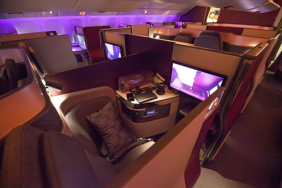 "Qatar Airways: My Seat Doha to Mumbai.  ""Q Suite"" seating."