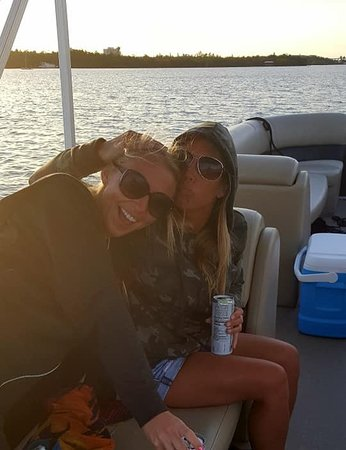 Watching the sunset from the boat