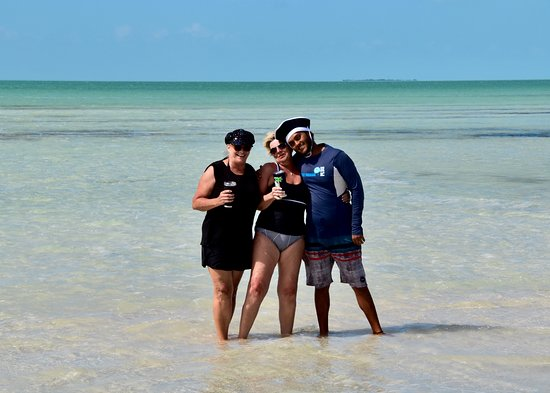 Belize Parasail Plus: Victor and a few of the castaways at the sandbar.