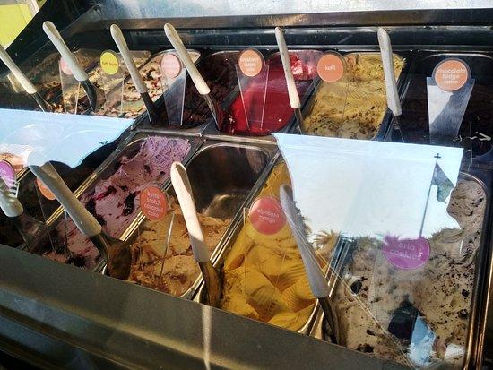 A display of gelati at Gelato Vinto