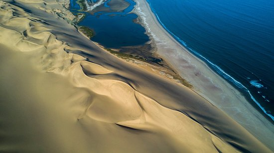 Swakopmund, Namibia: Aerial view of Sandwich Harbour