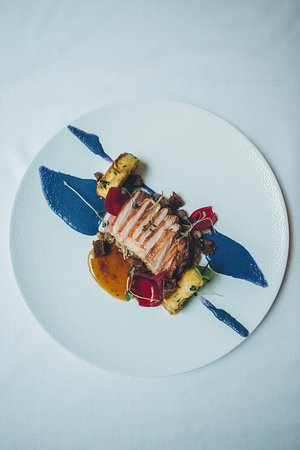 Lamb with polenta and red cabbage mousse