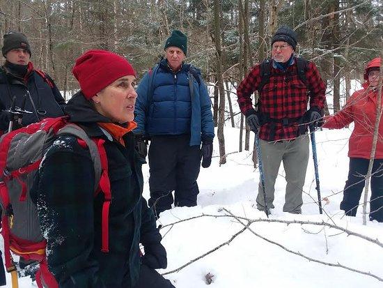 Westport, NY: Elizabeth leading a mammal tracking hike, January 2019