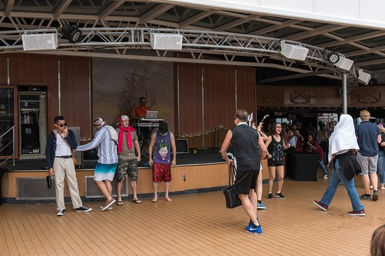 Lip Sync Battle at the Ulysses Main Pool on Carnival Miracle