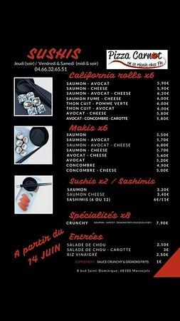 Marvejols, France: Voici la carte de nos sushis, préparés minute par notre chef du Jeudi au Dimanche