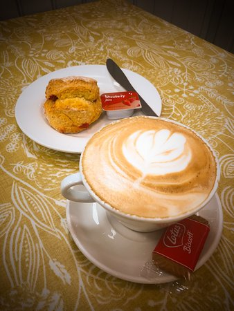 Homemade scones and a latte