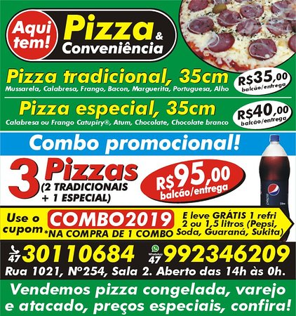 Aqui tem Pizza e Conveniencia: Combo promocional com cupom para ganhar refrigerante de 2 litros.