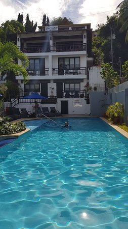This is the main pool with the hotel building in the back.
