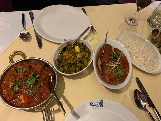 Punjab: Chicken Achari, Chicken Karahi, Okra and plain rice