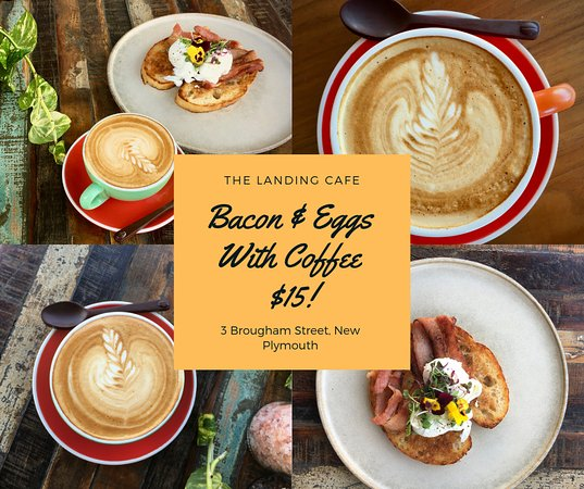 The Landing Cafe: Breakfast Deal- Egg on toast and bacon with coffee
