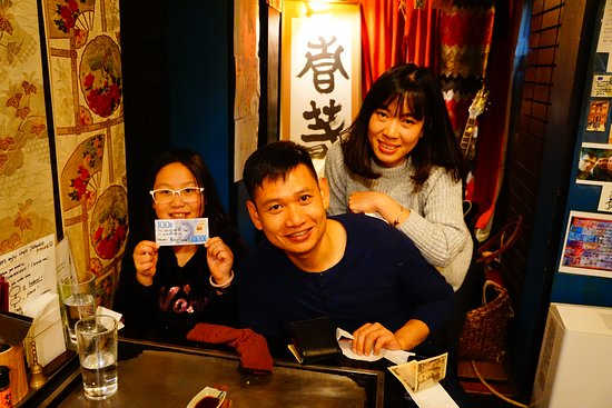 Teppan Tavern Gion Tenamonya: Thank you very much for your wonderful smiles! And ARIGATO GOZAIMASU for your comment on your country's bill! We always wait your next visit! MATANE!