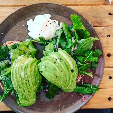 avocado toast with ham, eggs