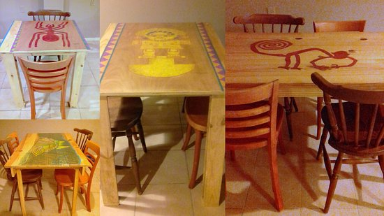 Tables are hand painted and specially designed for Peru Fusion