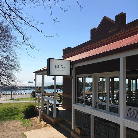 Exterior view of the entrance to Edina Waterfront Cafe