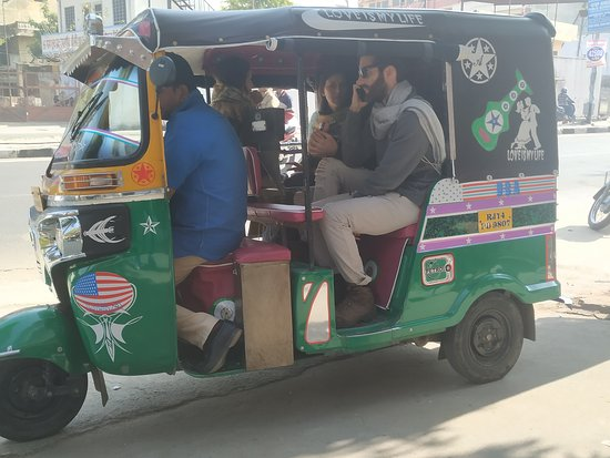 Royal Spices And Tea: I booked this tuk tuk for all day sight seeing for them... To discover real Jaipur Where the drivers and guides don't want to go... Coz they are interested to take them in stores like jewelry and textile.....