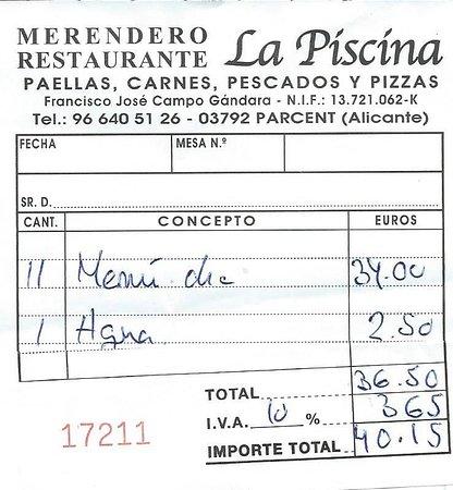 La Piscina: The bill